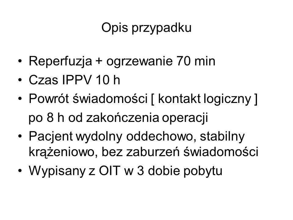 Opis przypadku Reperfuzja + ogrzewanie 70 min. Czas IPPV 10 h. Powrót świadomości [ kontakt logiczny ]